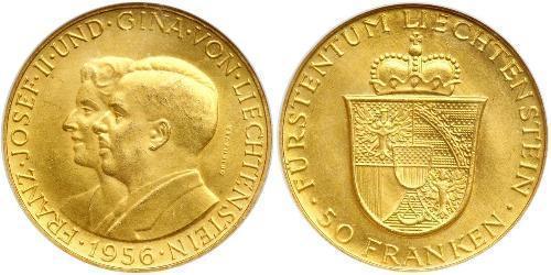 50 Франк Ліхтенштейн Золото Franz Joseph II, Prince of Liechtenstein (1938 - 1989)