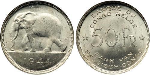 50 Франк Бельгийское Конго (1908 - 1960) Серебро