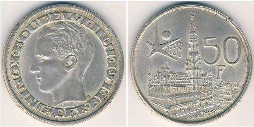 50 Франк Бельгия Серебро