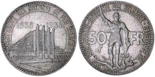 50 Франк Бельгія Срібло