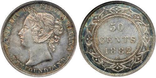 50 Цент Ньюфаундленд и Лабрадор Серебро Виктория (1819 - 1901)