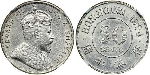50 Cent Hong Kong Argent Édouard VII (1841-1910)