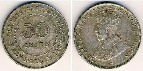50 Cent Insediamenti dello Stretto (1826 - 1946) Argento Giorgio V (1865-1936)