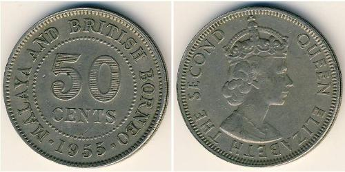 50 Cent Fédération de Malaisie (1948 - 1963) Cuivre/Nickel