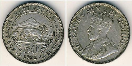 50 Cent África Oriental Plata Jorge V (1865-1936)