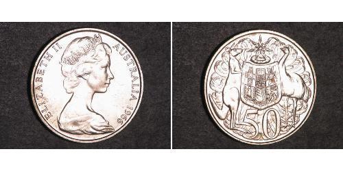 50 Cent Australia (1939 - ) Plata Isabel II (1926-)