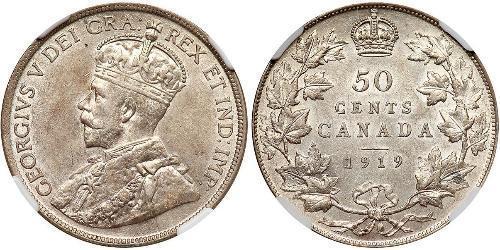 50 Cent Kanada Silber George V (1865-1936)