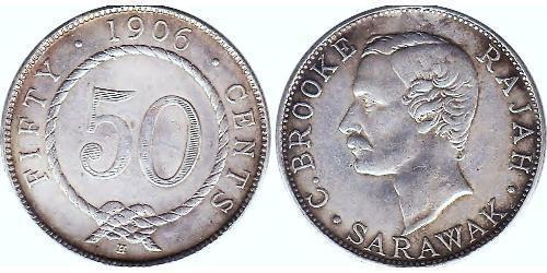 50 Cent Sarawak Silber