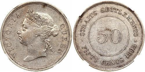 50 Cent Straits Settlements (1826 - 1946) Silver Victoria (1819 - 1901)
