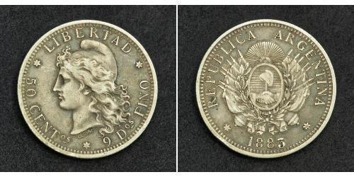 50 Centavo Argentinien (1861 - ) Argent