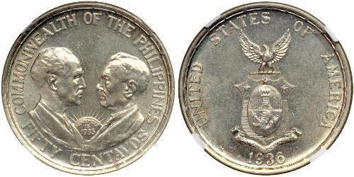 50 Centavo Philippines Argent