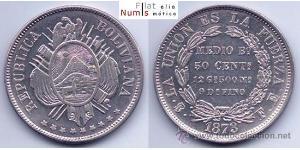 50 Centavo Bolivia (1825 - ) Argento
