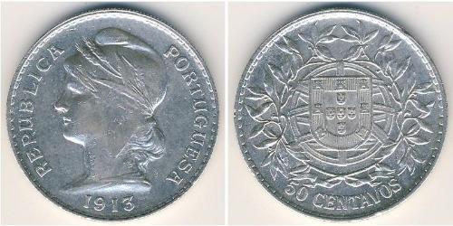 50 Centavo Prima repubblica portoghese (1910 - 1926) Argento