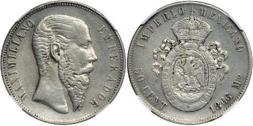 50 Centavo Segundo Imperio Mexicano (1864 - 1867) Plata Maximilian I of Mexico (1832 - 1867)