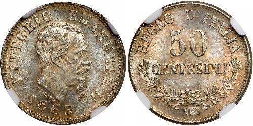 50 Centesimo Kingdom of Italy (1861-1946) Silver Victor Emmanuel II of Italy (1820 - 1878)
