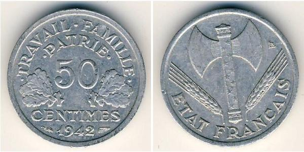 50 Centime Vichy France (1940-1944) Aluminium/Zinc