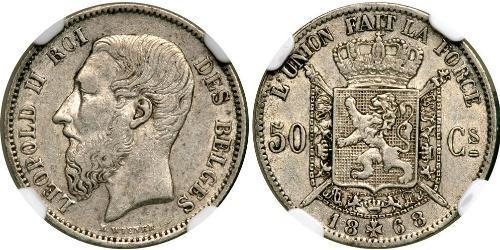 50 Centime Belgio Argento Leopold II (1835 - 1909)