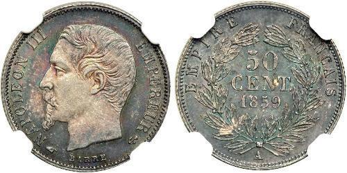 50 Centime Secondo Impero francese (1852-1870) Argento Napoleone III (1808-1873)