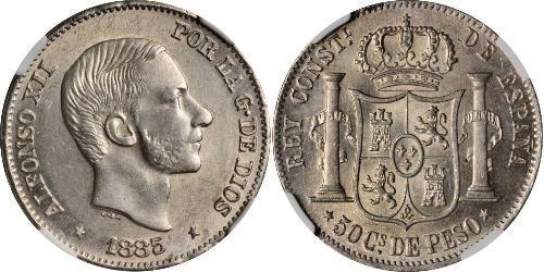 50 Centimo Filippine Argento