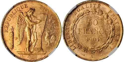 50 Franc Tercera República Francesa (1870-1940)  Oro