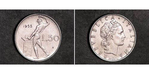 50 Lira Italien Stahl