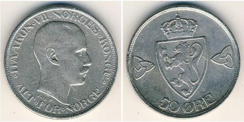 50 Ore Noruega (1905 - ) Plata Haakon VII de Noruega (1872 - 1957)