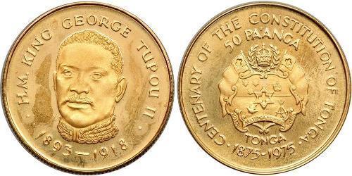50 Paanga Tonga Gold George Tupou II (1874 - 1918)