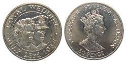 50 Penny Saint Helena (1981 - ) Copper-Nickel Elizabeth II (1926-)
