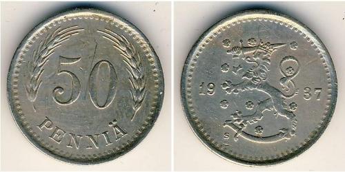 50 Penny Finlandia (1917 - ) Níquel/Cobre