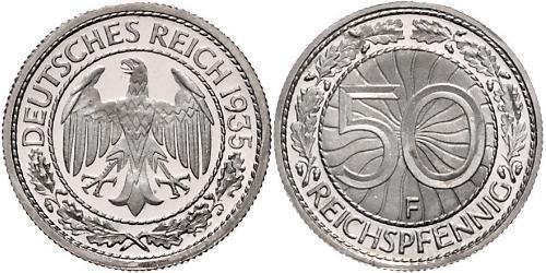 50 Pfennig / 50 Reichpfennig 魏瑪共和國 (1919 - 1933) 銅/镍