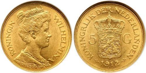 5 Гульден Королівство Нідерланди (1815 - ) Золото Вільгельміна (королева Нідерландів)(1880 - 1962)