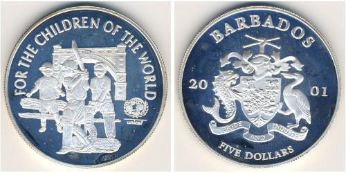 5 Доллар Барбадос Серебро