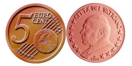 5 Евроцент Ватикан (1926-) Сталь/Медь Иоанн Павел II (1920 - 2005)