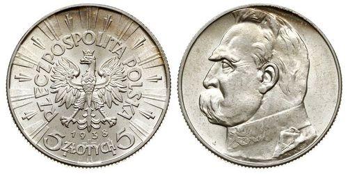 5 Злотый Польская Республика (1918 - 1939) Серебро Пилсудский, Юзеф