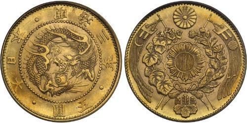 5 Иена Японская империя (1868-1947) Золото Meiji the Great (1852 - 1912)