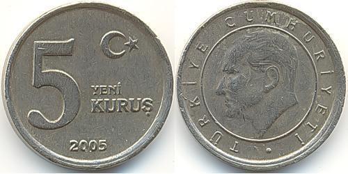 5 Куруш Турция (1923 - ) Никель/Латунь