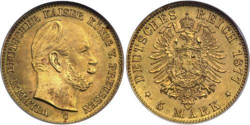 5 Марка Пруссия (королевство) (1701-1918) Золото Wilhelm I, German Emperor (1797-1888)