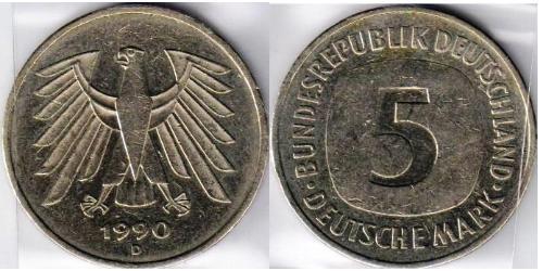 5 Марка Федеративна Республіка Німеччина (1990 - ) Нікель/Мідь