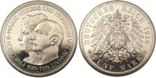 5 Марка Ангальт-Дессау (1603 -1863) Серебро Фридрих II, герцог Ангальта(1856 – 1918)