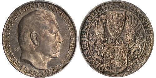 5 Марка Веймарская республика (1918-1933) Серебро Гинденбург, Пауль фон