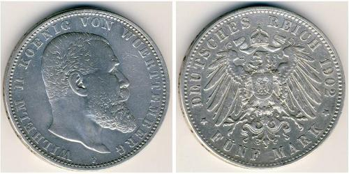 5 Марка Королевство Вюртемберг (1806-1918) Серебро Wilhelm II, German Emperor (1859-1941)