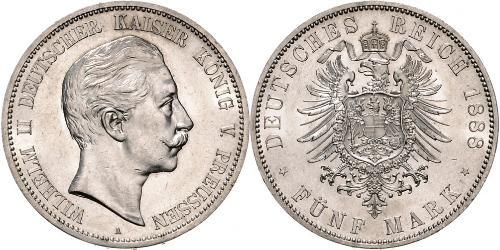 5 Марка Пруссия (королевство) (1701-1918) Серебро Wilhelm II, German Emperor (1859-1941)
