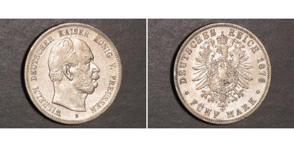 5 Марка Пруссия (королевство) (1701-1918) Серебро Wilhelm I, German Emperor (1797-1888)