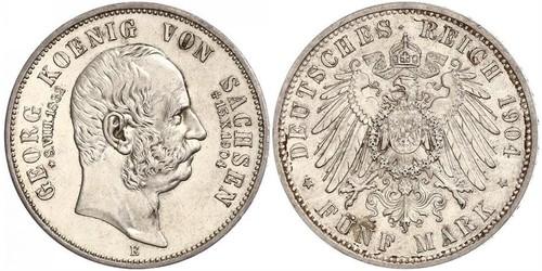 5 Марка Саксония (королевство) (1806 - 1918) Серебро Георг (король Саксонии)
