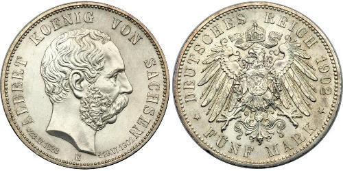 5 Марка Саксония (королевство) (1806 - 1918) Серебро Альберт (король Саксонии)