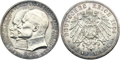 5 Марка князівство Гессен-Кассель (1567 - 1806) Срібло Ernest Louis, Grand Duke of Hesse