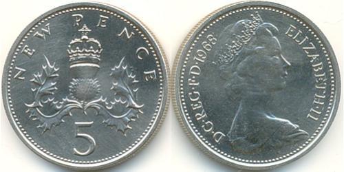 5 Пенни Великобритания (1922-) Никель/Медь Елизавета II (1926-)