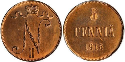 5 Пені Велике князівство Фінляндське (1809 - 1917) Мідь Микола II (1868-1918)