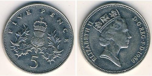 5 Пені Велика Британія (1922-)