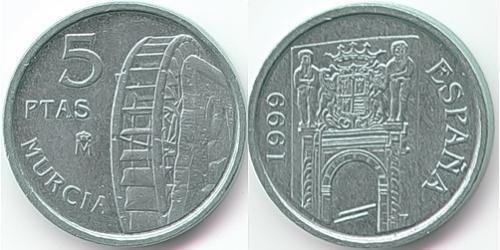 5 Песета Королевство Испания (1976 - ) Никель/Сталь Хуан Карлос I (1938 - )